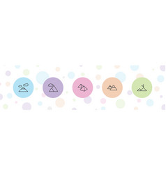 5 mountains icons vector