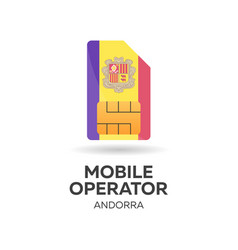 andorra mobile operator sim card with flag vector image