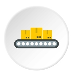 Belt conveyor with load icon flat style vector image