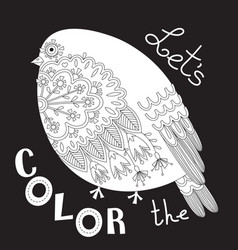 Bird with patterns and flowers coloring book page vector