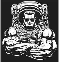 Bodybuilder in an astronaut suit vector