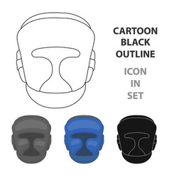 boxing helmet icon in cartoon style isolated on vector image