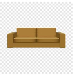 Brown camel sofa mockup realistic style vector