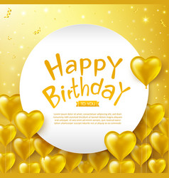 Calligraphy happy birthday text with golden vector