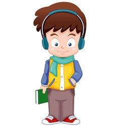 Cartoon Boy listen music vector image