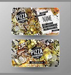 cartoon graphics watercolor doodles pizza vector image