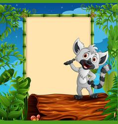 Cartoon raccoon presenting on hollow log near the vector