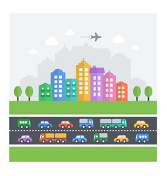 chaotic cityscape flat modern icons of vehicles vector image