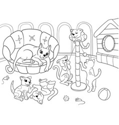 Childrens coloring book cartoon family on nature vector