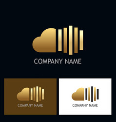 cloud line gold technology logo vector image