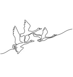 continuous one line drawing flying swans logo vector image