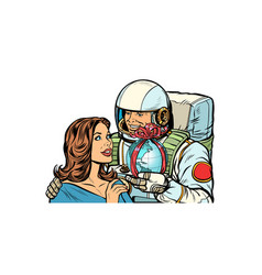 Couple in love astronaut gives a woman earth vector