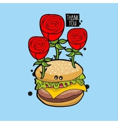 Crazy hamburger portrait with red roses vector