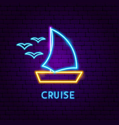 cruise neon label vector image
