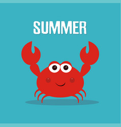 Cute crab print vector