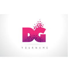 Dg d g letter logo with pink purple color and vector
