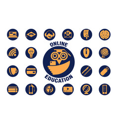 e-learning icon set and logo isolated online vector image