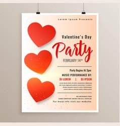 elegant valentines day flyer poster design vector image