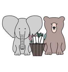 elephant and bear with basket arrows bohemian vector image