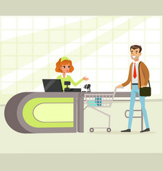 Female cashier and buyer paying for purchase man vector