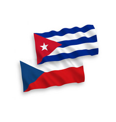 Flags czech republic and cuba on a white vector