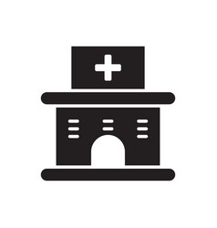 Flat line hospital building icon logo element vector