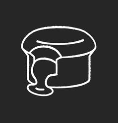 Fondant au chocolat chalk white icon on black vector