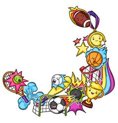 Frame with kawaii sport items vector