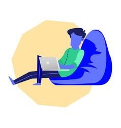 Freelancer with laptop sit in blue beanbag chair vector