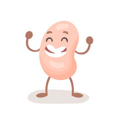 Funny smiling soy bean character cute soybean vector