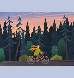 girl on bike woman going bicycle vector image