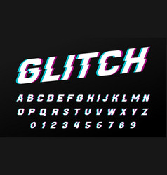 glitch font for posters comic retro game alphabet vector image