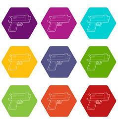 gun icons set 9 vector image