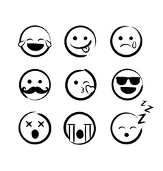 hand drawn ink emojis faces doddle emoticons vector image