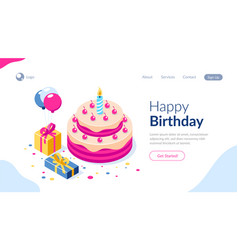 happy birthday 3d concept cake with a vector image