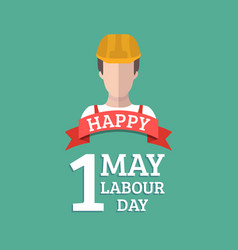 happy may day lettering background labour vector image