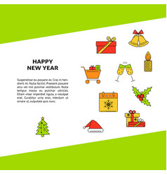 Happy new year poster template with holiday vector