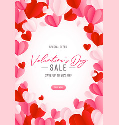 happy st valentines day card with 3d paper hearts vector image