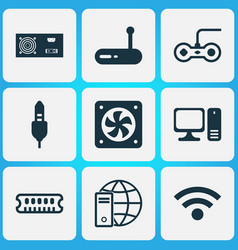 Hardware icons set with audio cable power supply vector