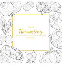 harvesting frame 100 percent organic different vector image