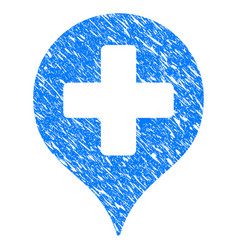 Hospital cross map marker grunge icon vector