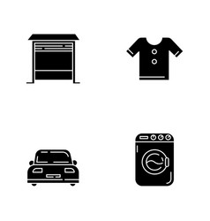 Household black glyph icons set on white space vector