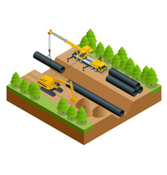 isometric construction vector image