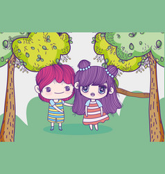 kids little girl and boy anime cartoon grass vector image