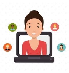 Laptop woman relationship person vector