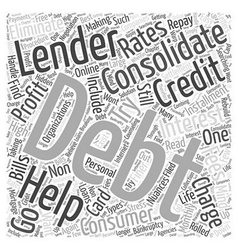 Lender for Debt Consolidation Word Cloud Concept vector