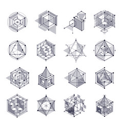 lines and shapes abstract isometric 3d black and vector image