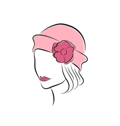 Lovely girl in a pink hat with flower vector image