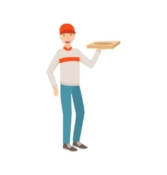 Man delivery worker holding pizza part of happy vector