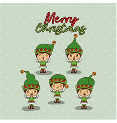 merry christmas card with set of gnome boys with vector image
